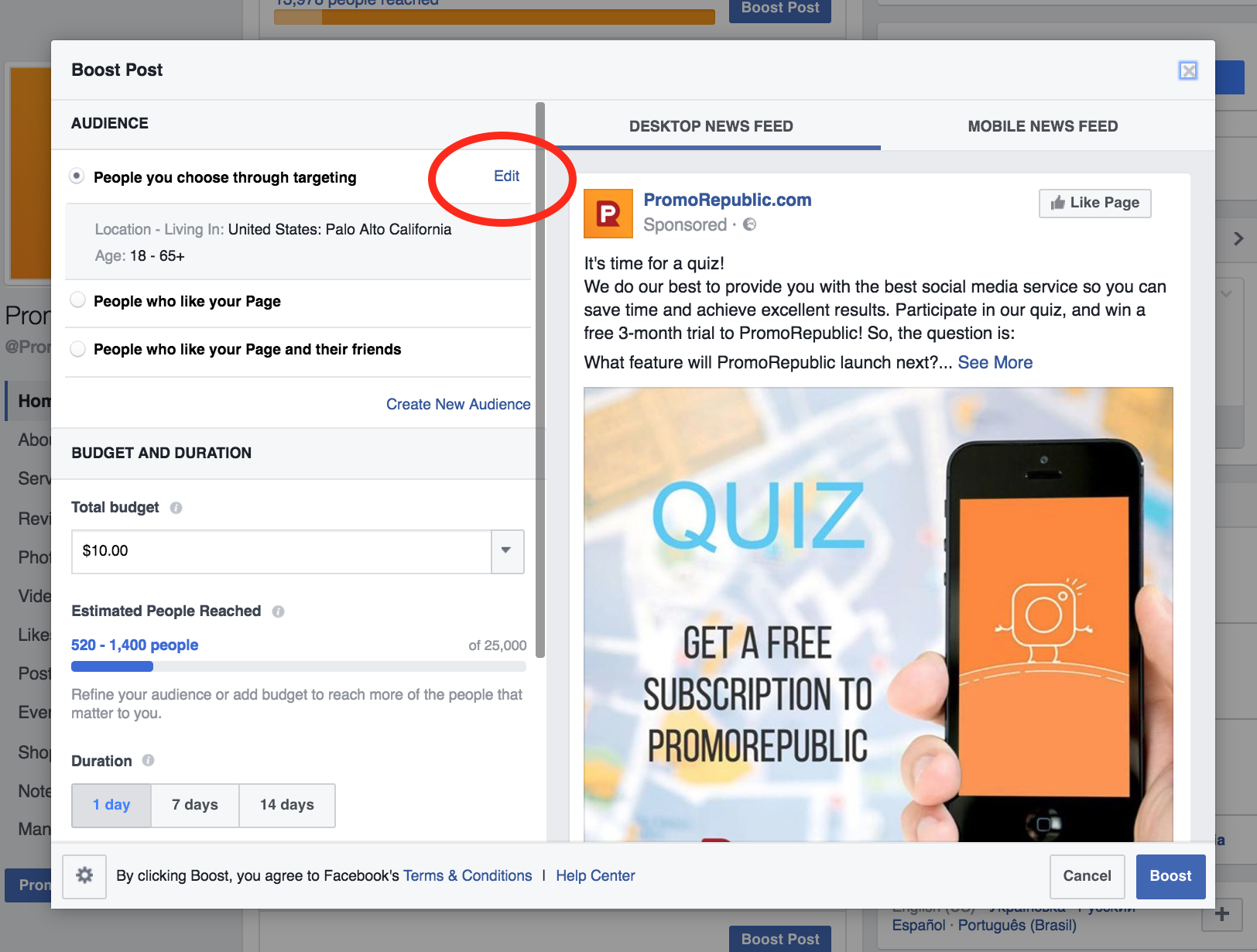 how to choose audience for post boost on Facebook
