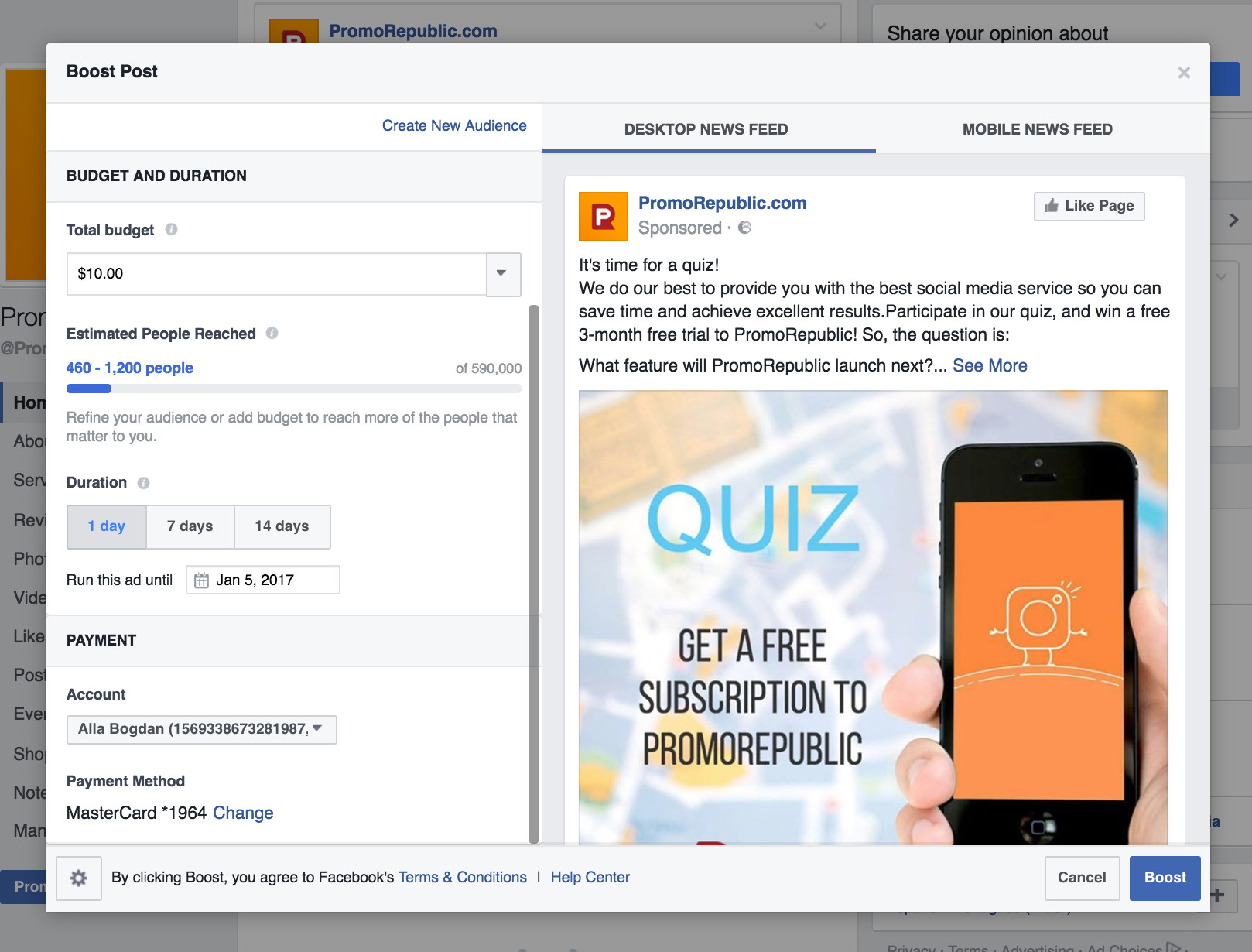 setting a budget for facebook campaign