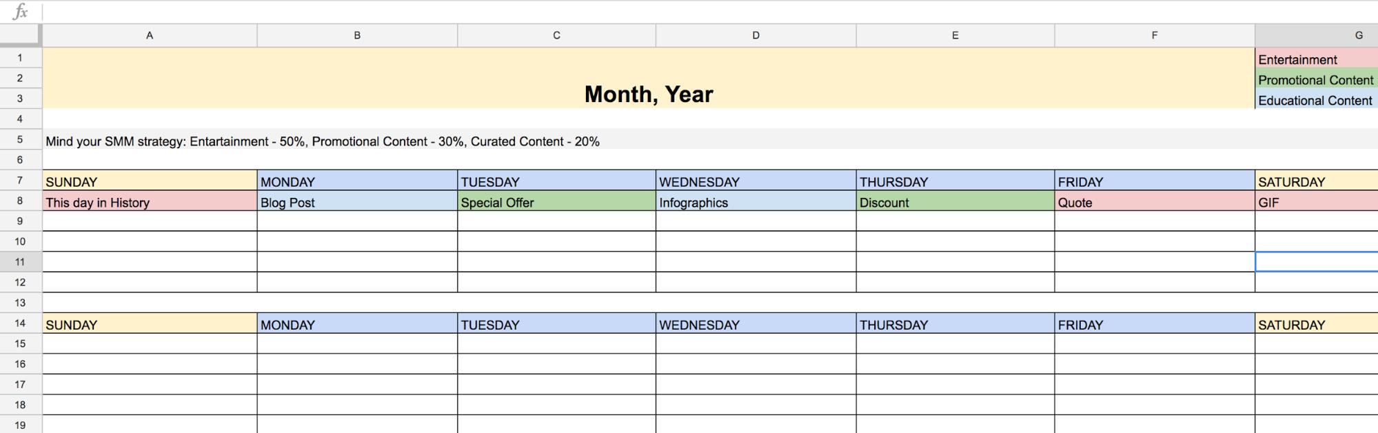social content plan example