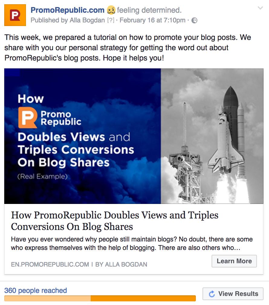 PromoRepublic blog post example