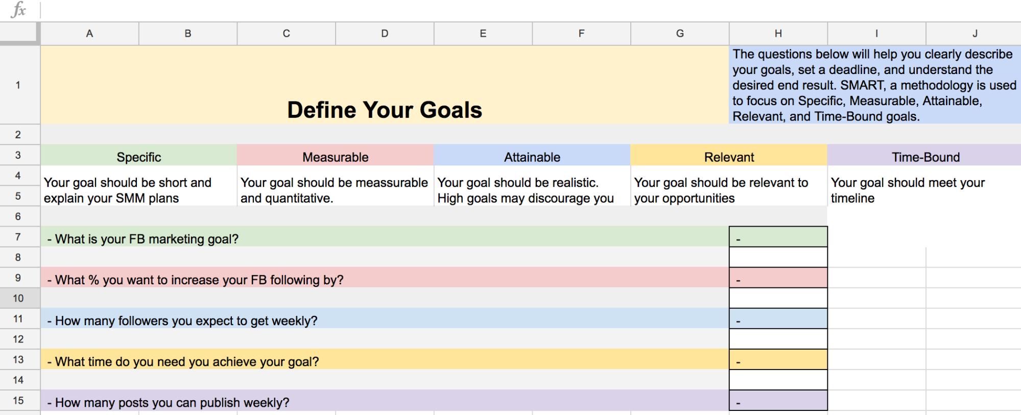 social media goals example