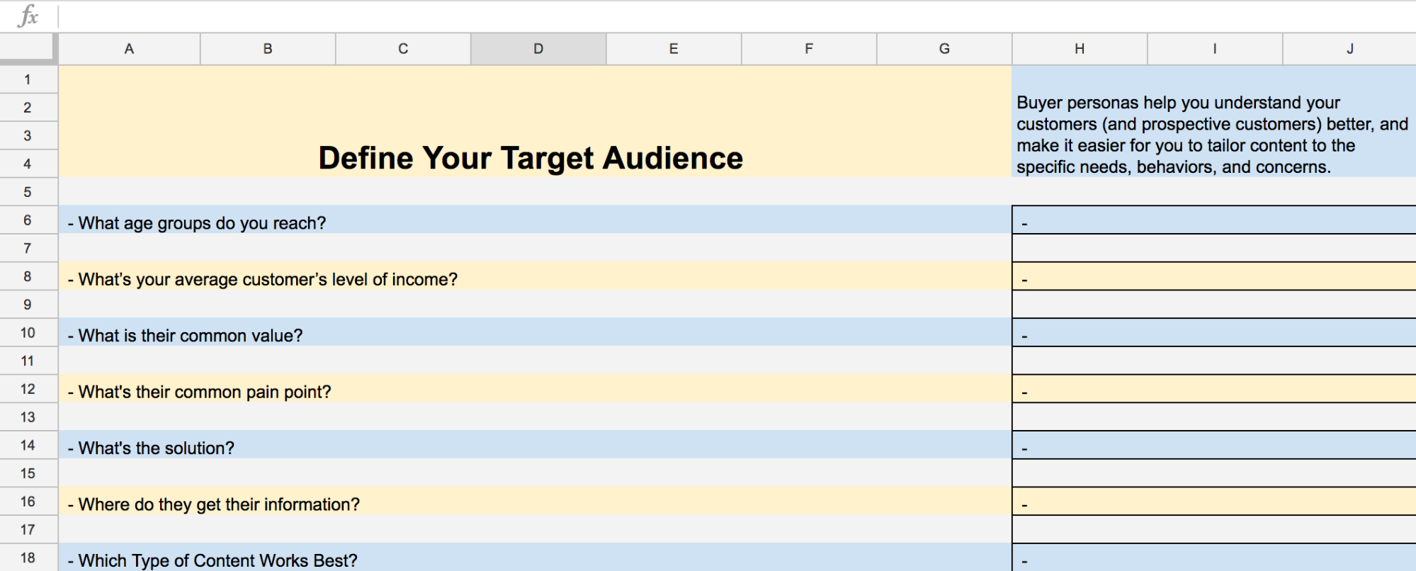target audience goals example