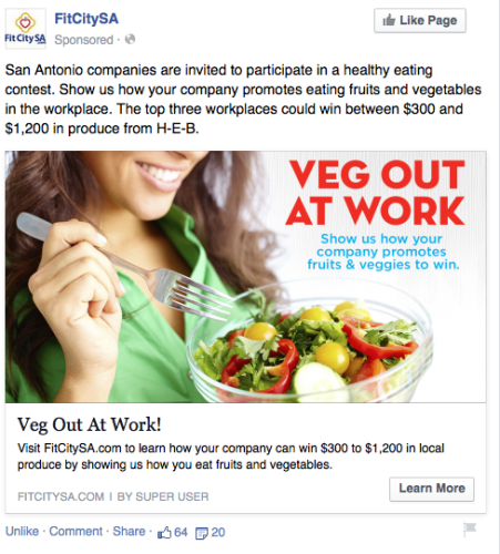 Facebook Ads Consideration example