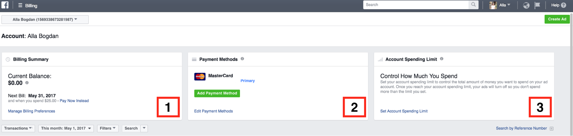 Facebook Ads billing and payment example