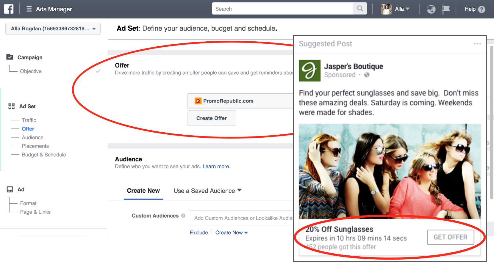 Facebook ads offer example