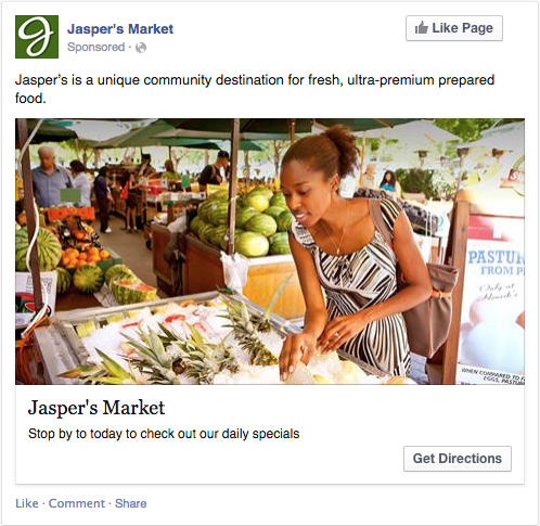 Facebook ads Awareness post example