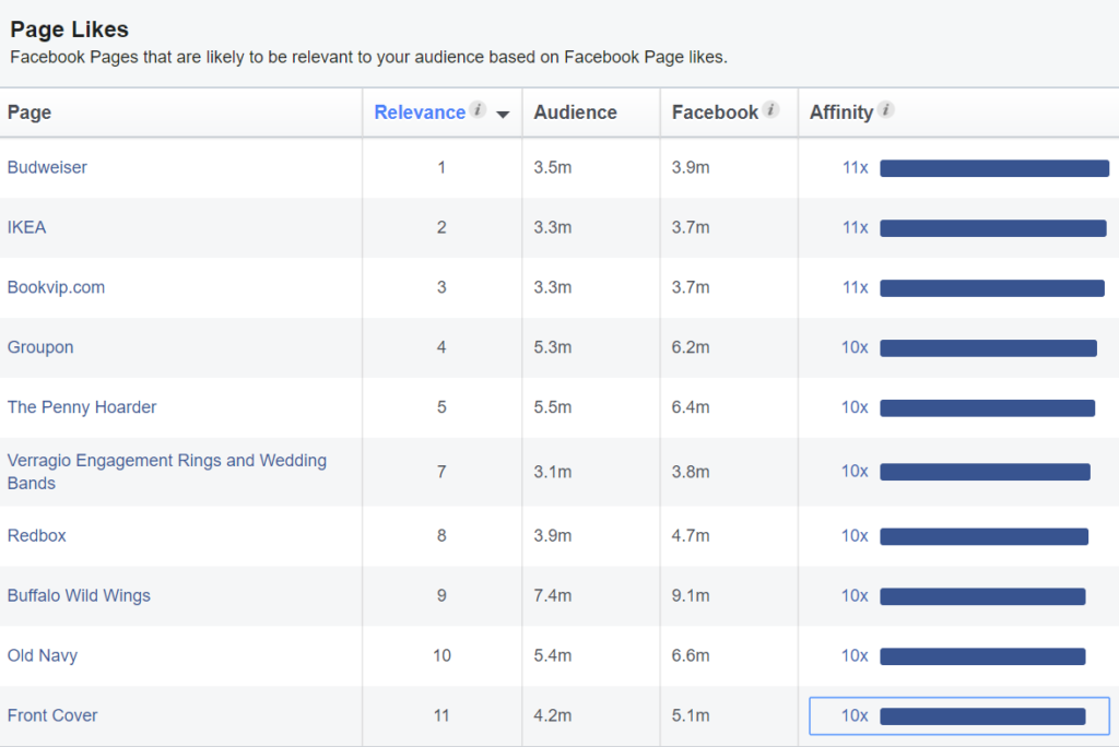 how to fill in audience insights on Facebook