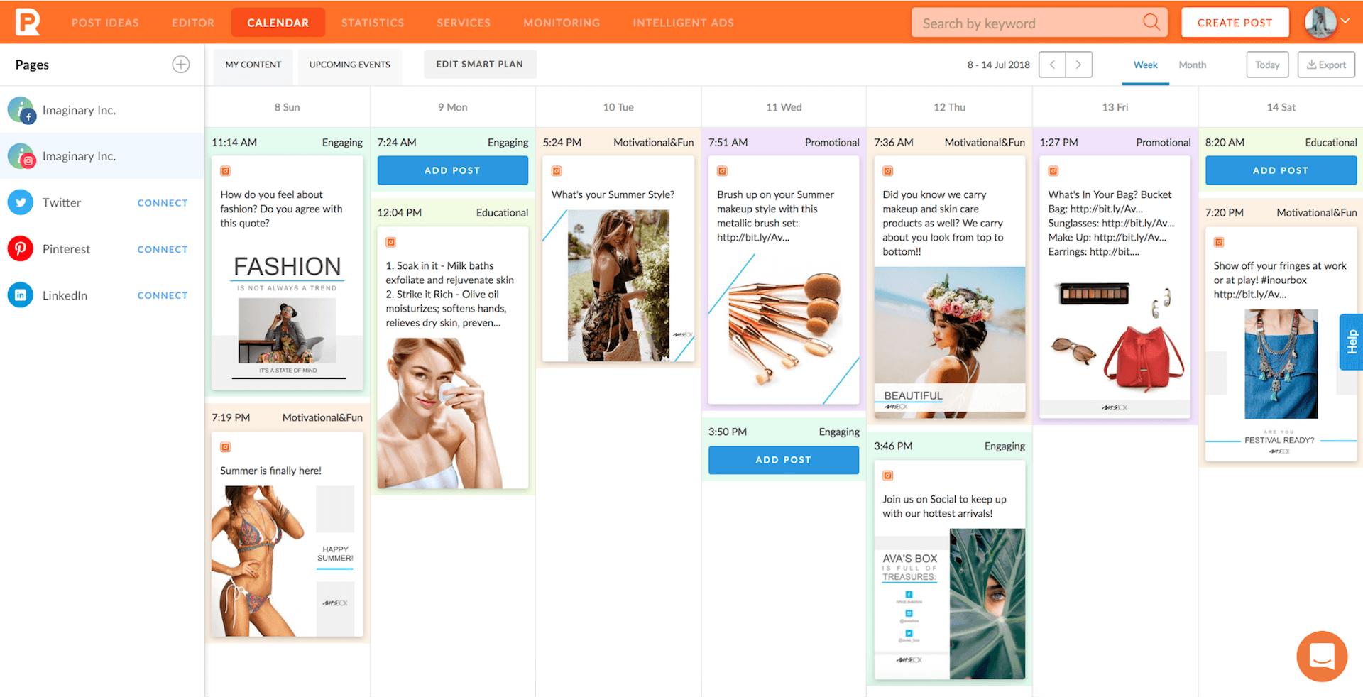 content plan overview in smart calendar