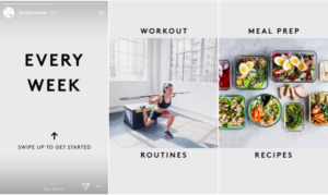 Instagram stories with call-to-action