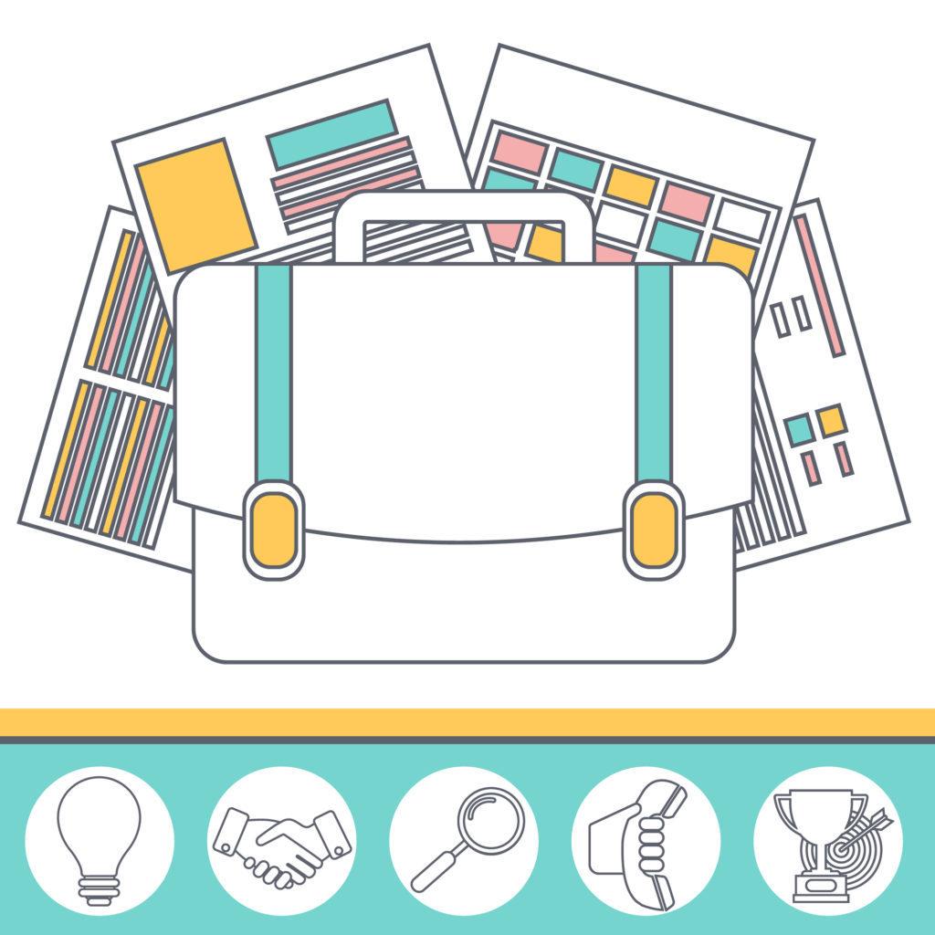 Business process thin line icons set of portfolio, cv, start-up and branding