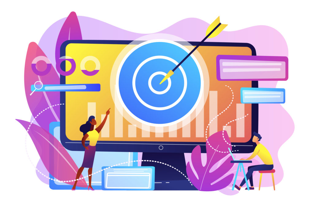 Remarketing manager and specialist put targeted ads. Remarketing strategy, digital marketing tool, visitors generation methodology concept. Bright vibrant violet vector isolated illustration