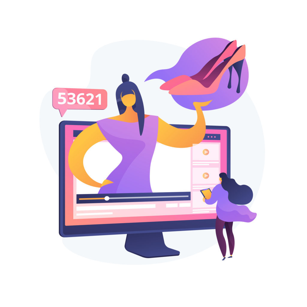Fashion blogger tips. Professional stylist, freelance imagemaker, clothing expert. Woman following female youtuber. Fashion industry influencer. Vector isolated concept metaphor illustration