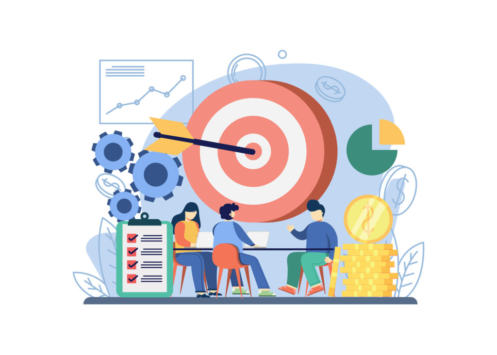 Business strategy concept. people discuss business strategy with big target. Business idea, strategy and solution, problem solving, decision making. Graphic design for web, mobile apps, banner.